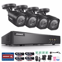 ANNKE 4CH 720P HD CCTV System 1080N DVR with 720P IR Outdoor Security Camera 4 channels Home Video Surveillance Kit Email Alert