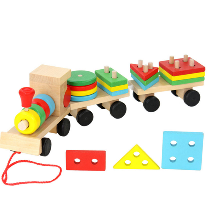 New Kid Baby Wooden Solid Stacking Train Toddler Block Toy Fun Vehicle Block Boards Game Toy Wooden Educational Toy For Children
