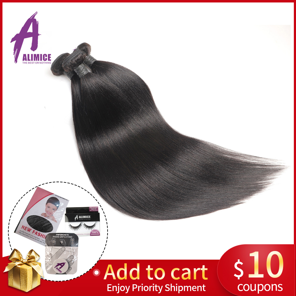 Malaysisk Straight Human Hair Weave 1/3 / 4Bundles Deal Alimice Non - Menneskelig hår (for svart)