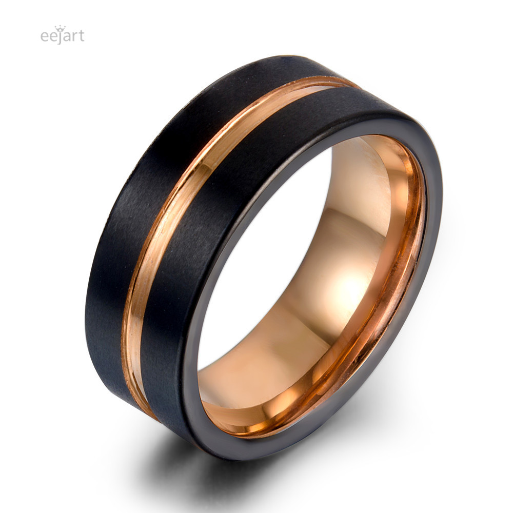 eejart Tungsten Ring Fashion Black and rose gold Wedding ring sport ring Band 8MM Tungsten Carbide Rings for Men Jewelry fashion circle ring and embroidery embellished black baseball cap for men