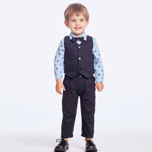 Image 2 - Одежда для маленьких мальчиков вечерние одежда комплект одежды для малышей, комплекты для новорожденных Детское платье майка + комбинезон + брюки, комплект из 3 предметов на осень и весну, комплекты одежды для детей KB8083