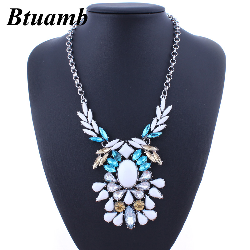 Btuamb Maxi Bohemia Rhinestone Water Drop Statement Necklaces for Women Party Jewelry Vintage Resin Leaves Necklaces & Pendants