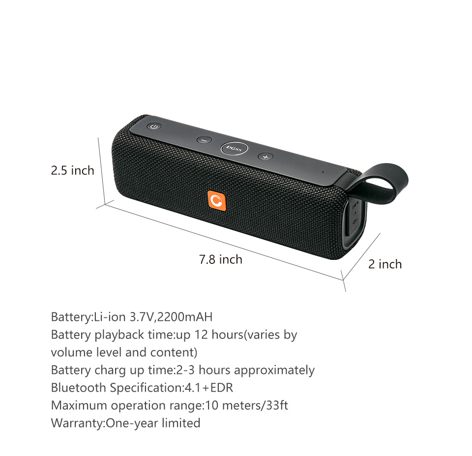 DOSS E-go ll Outdoor Portable Bluetooth Speaker With IPX6 Waterproof Built-In Microphone For PC 6