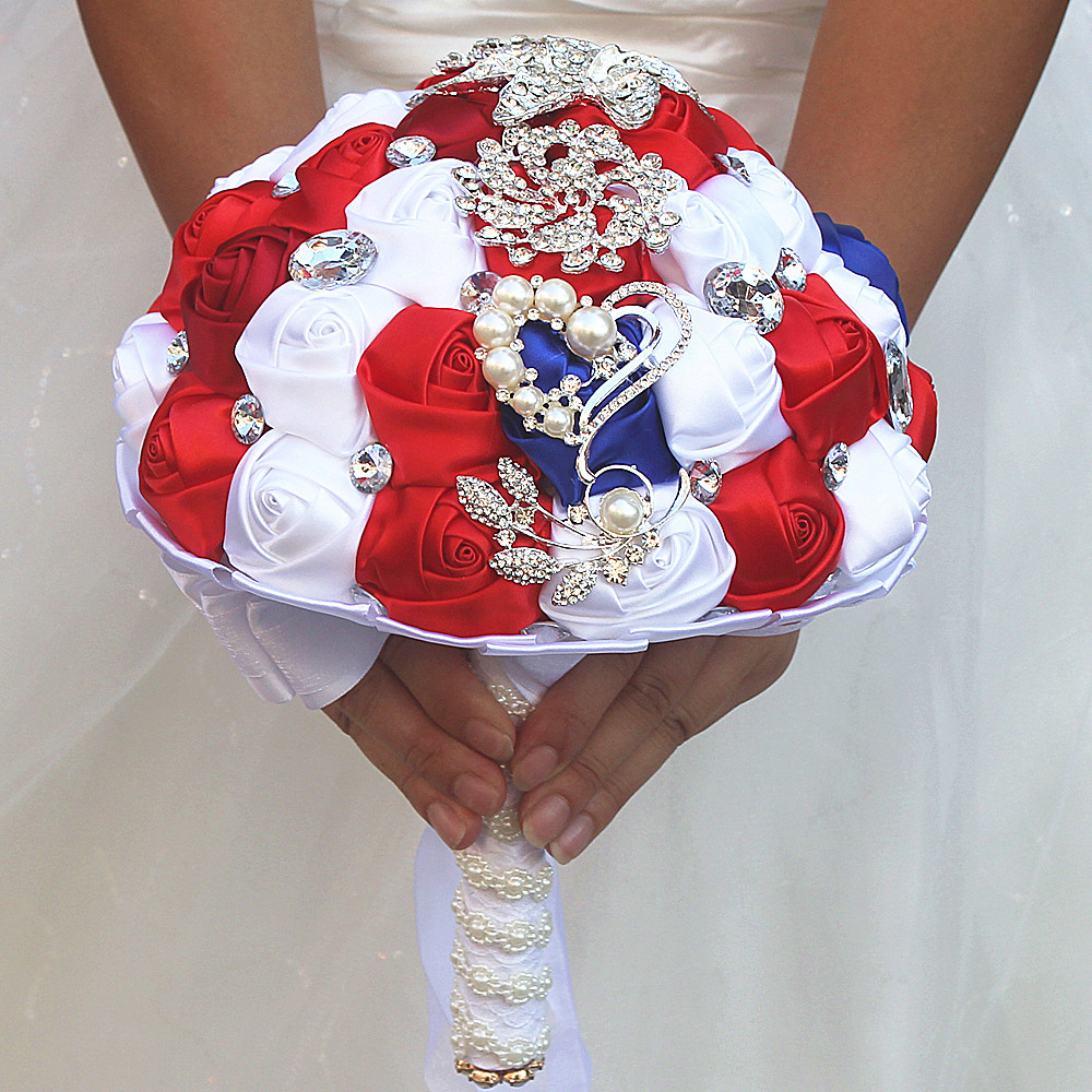 Hot Selling White Blue And Red Crystal Bridal Wedding Bouquets For