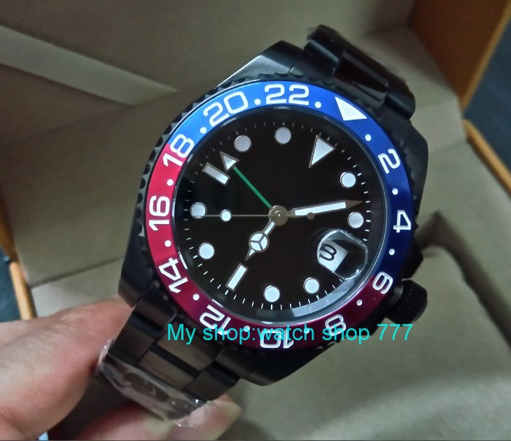 Sapphire crystal 40mm PANRIS PVD case Asian Automatic Self-Wind movement One-way rotating bezel GMT luminous men