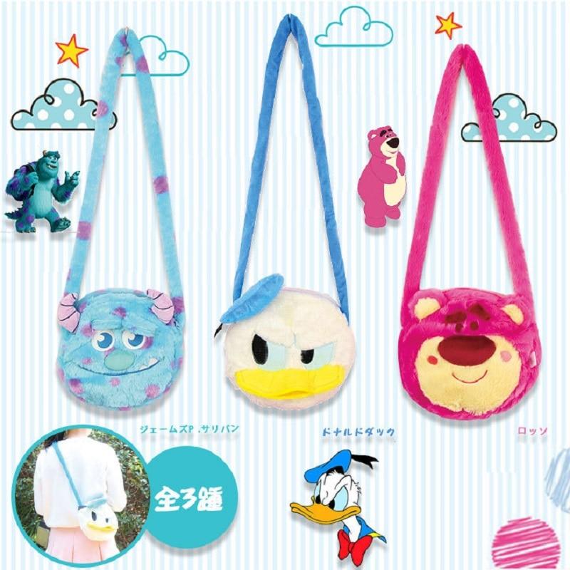 Cute Cartoon Plush Backpack Strawberry Bear Donald Duck Monster Sullivan Women Girl Shoulder Toy Doll Bag For Children Baby Gift