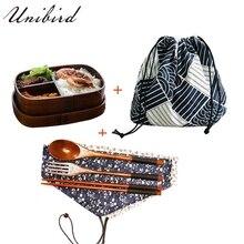 Unibird деревянный японский Овальный Ланч-бокс с сумкой и ложкой палочки для суши контейнер для еды детский отсек столовая посуда bento box Set