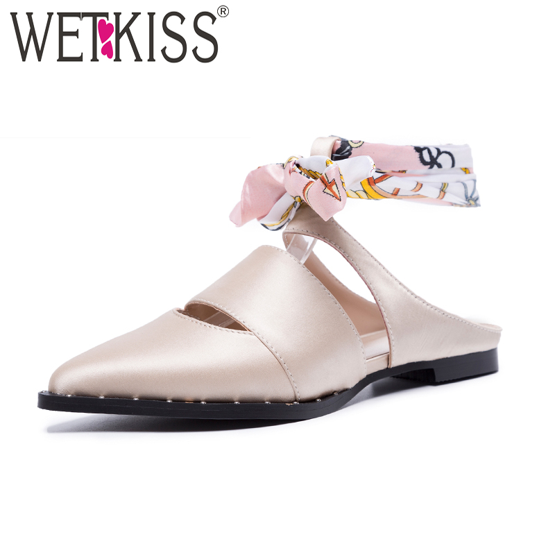 WETKISS Summer Satin Sandals Women Pointed Toe Sandals Shoes Ankle Wrap Flat Sole Footwear New Rivet Fashion Casual Female Shoes 2016 the new leisure women pointed toes loafers leopard black gray female rivet flat shoes for women s shoes a24