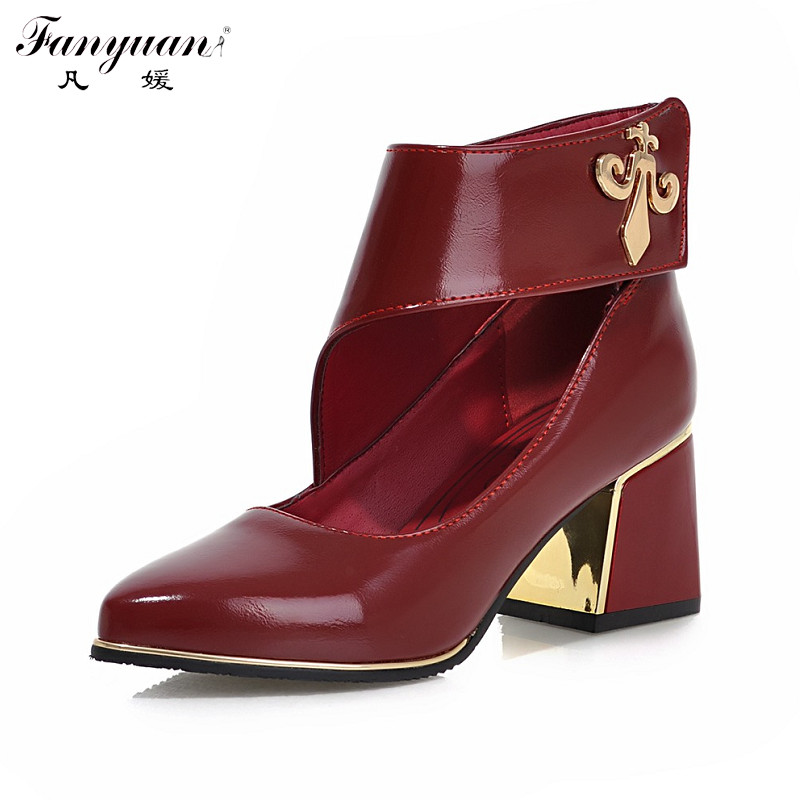 2017 New Arrivals Fashion Thick Med Heels Platform Pumps Dress Shoes For Women Vintage Style