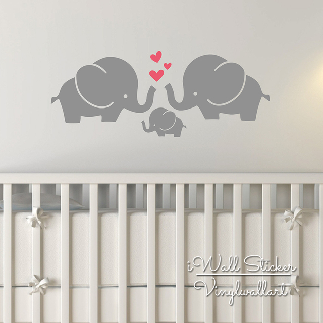 Elephant Wall Sticker Baby Nursery Decal Animal Removable High Quality Cut Vinyl