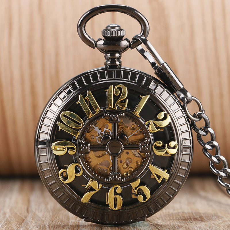 2016 Fashion Lovely Arabic Numbers Hollow Pocket Watch Mechanical Automatic Fob Clock Men Women Gift With Chain nurse watch arabic numbers unisex watches silver mechanical fob pocket watch vintage steampunk men relogios feminino pw49