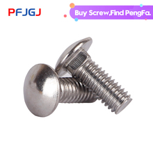 цена на Peng Fa 304 stainless steel carriage screw GB12 semi-circular head square neck bolt rack screw M6 M8 M10 M12