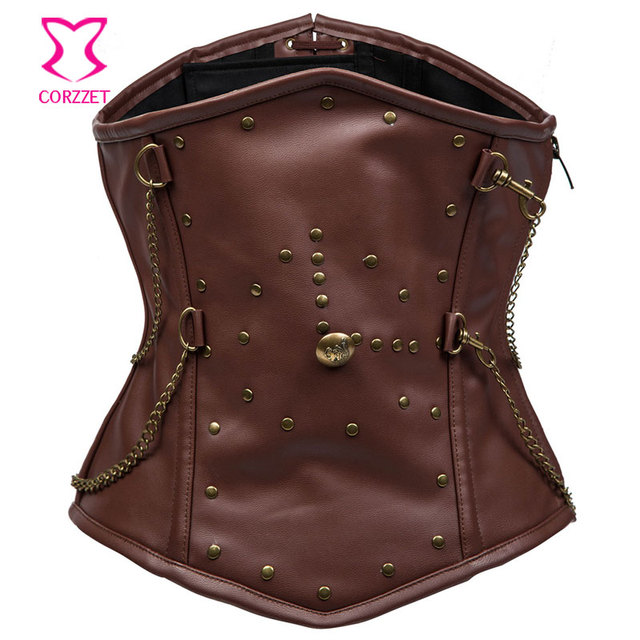 Brown Faux Leather Steampunk Corset For Men Waist Shaper Steel Boned Waist Slimming Corsets and Bustiers Faja Reductora Hombre