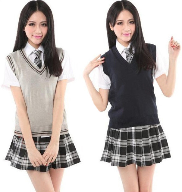 d7beddede Japan Korea Girl Vest Sweater Uniforms Student School Uniform V-neck  Mercerized Cotton Vest Short
