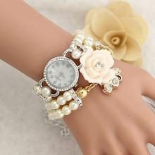 Women Luxury White Flower Bracelet Watches Ladies Fashion Pearl Quartz Wristwatches  Rhinestone Relogio Feminino Montre Femm