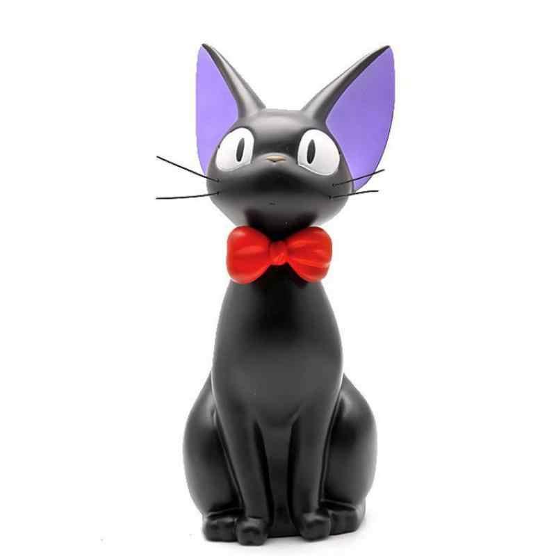 1pcs Cute Cartoon Animal Black Cat Figurines Kawaii Beard Cat Souvenir Figurines Gift H-25.5cm Pvc Piggy Bank Craft Decoration