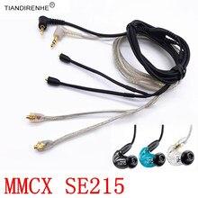 Mmcx original cabo para shure se215 se325 se425 se535 se846 banhado a ouro fone de ouvido fone de ouvido fone de substituição cabo linha fio