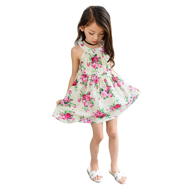 2018 Fashion Girl Dress Summer Hot Sale Baby Girls Flower Print Sling Dresses Casual Cute Sleeveless Dress 3-8T H1