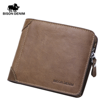 BISON DENIM 2016 New Hot High Quality Genuine Leather Wallet Men Wallets Vintage Organizer Purse Billfold Zipper Coin Pocke