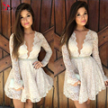 Fashion 2016 Cocktail Dresses V-Neck Long Sleeves White Lace A-Line Short Mini Short formal Dress party dress prom gown