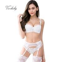 21b100509 Varsbaby 1 2 Cup Underwear Lace Bow Half Cup Lingerie Set Bra Panties  Garter Stockings 4