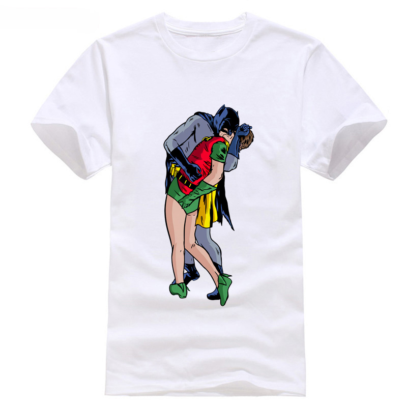 Hot Sell 2018 Fashion Superhero Love Life Batman & Robin Kiss Pride Funny Joke Men T Shi ...