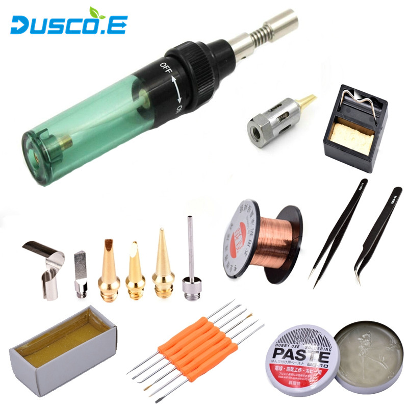 High Quality Electronics DIY MT-100 Gas Blow Torch Butane Gas Soldering Iron Gun Cordless Solder Iron Welding Repair Tool Set 1