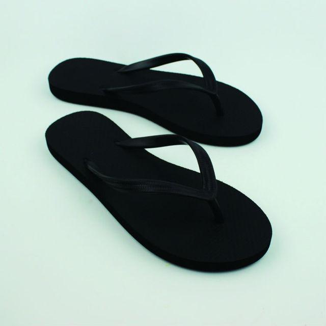 d6e085dea2f2a DS-7 Women Black Rubber Foam Flip Flops Lady Null Special Beach Slippers  Girl Flat Sandal Shoes Size 36-39 6-9