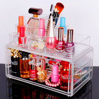 Européenne En Cristal Acrylique De Bureau Maquillage Bijoux Boîte De Rangement En Plastique Transparent Cosmétique Organisateur Spécial Cadeaux