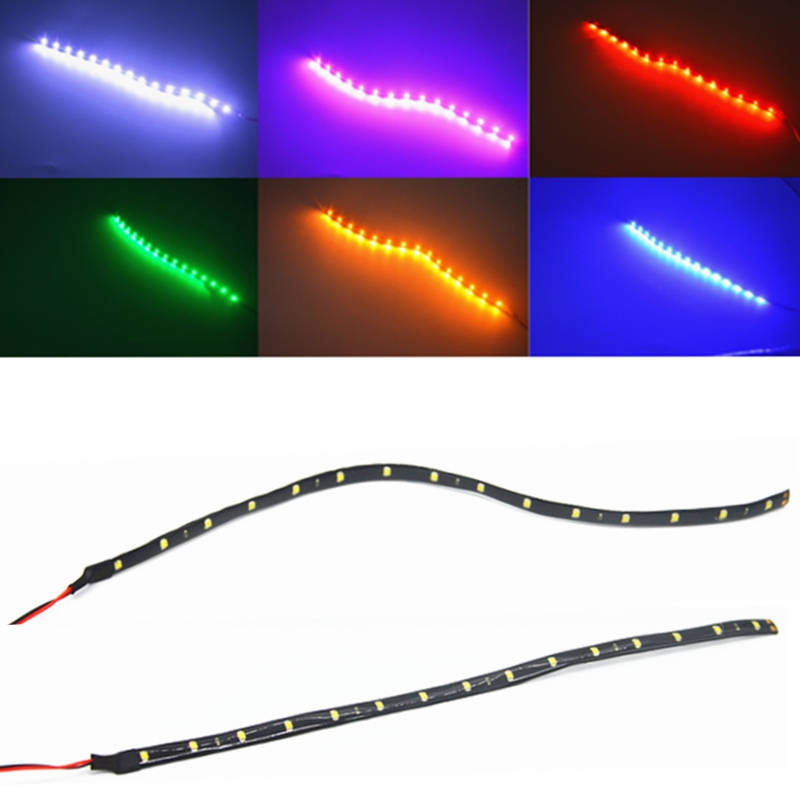 Hot Sale 1pcs Waterproof Auto Car Decorative Flexible Led Strip 30cm 15smd For Drl Daytime Running Lights Universal