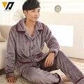 Conjunto de Franela de Los Hombres Suave Espesar Traje Loungewear Pijamas Adultos Traje de Hombre ropa de Dormir Ropa de Noche Masculina Ocasional L-4XL