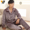 Loungewear Flannel Set Men Soft Thicken Suit Male Casual Pijamas Adult Hombre Sleepwear Night Suit L-4XL