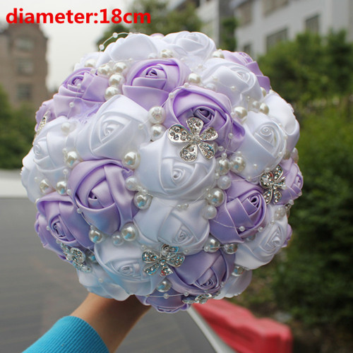 POP Light Purple White Silk Bridesmaid Bouquets Flowers Bridal ...