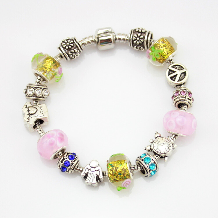 MPB Elodie Murano Glass Sun Pendant Beads Bracelet Bangles Fit Original Women Girl Snake Chain