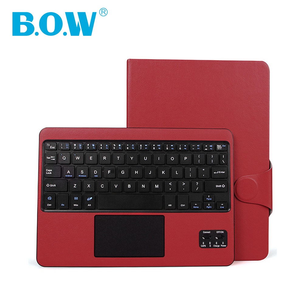 B.O.W For iPad 6 keyboard ,Ultra-Slim Bluetooth Touchpad wireless Keyboard For iPad 6 Air 2 Premium leather case Removable