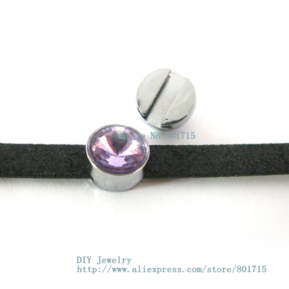 Brithday Gift birthstone June purple slide charms Internal Dia 8mm slide Charms Jewelry Finding fit 8mm wristband pet collar