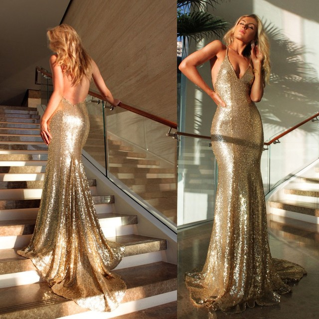 Custom Made 2016 Sexy deep V neck Backless Bling Bling Mermaid Prom Dress Gold Sequins Evening Dresses