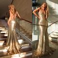 Custom Made 2016 Sexy profunda V neck Backless Bling Bling Sereia Vestido de Lantejoulas de Ouro Vestidos de Noite do baile de Finalistas