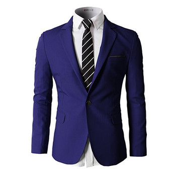 New Men's Blazer Solid Color Single Button Comfortable Suit Jacket Men's Prom Dress Men's Business Formal Jacket