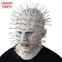 Halloween Mask Horror Movie Hellraiser Scary Pinhead Masks Grimace Monster Adult Cosplay Realistic Latex Party Masks