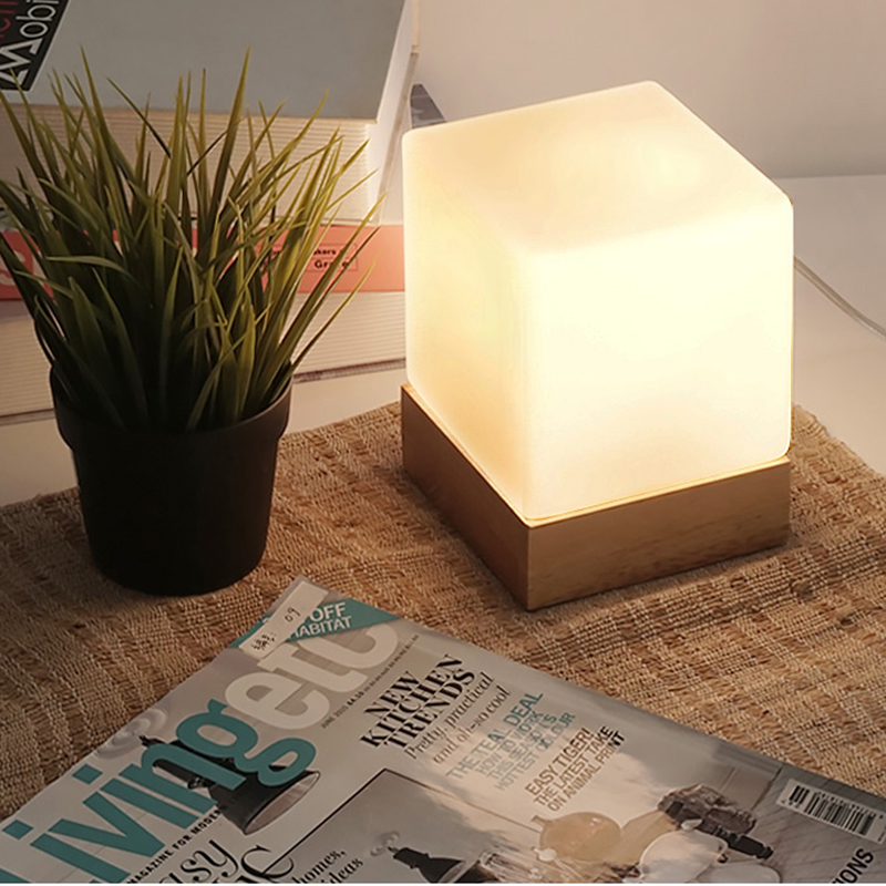 cubic frosted glass shade oak wood base desk light modern nordic minimalism design lighting bedside hotel cafe Cubi Table Lamp