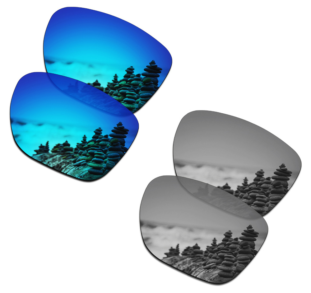 SmartVLT 2 Pairs Polarized Sunglasses Replacement Lenses for Oakley Crossrange XL Ice Blue and Silver Titanium