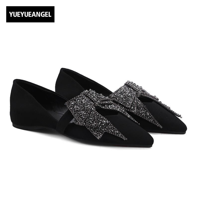 Spring Sweet Women Bling Crystal Bowknot Flats 2018 New Genuine Leather Ladies Shoes Pointed Toe Party Footwear Slip On Loafers odetina 2017 new women pointed metal toe loafers women ballerina flats black ladies slip on flats plus size spring casual shoes