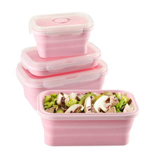 Silicone Foldable Lunch Box Set Portable Food Storage Container BPA Free Collapsible Leakproof Bento with Lid
