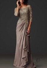 Custom Made Mother Of The Bride Dress Chiffon Scoop Neck  Floor Length With Appliques Pleats Formal Women vestido de noiva