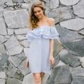 Simplee Chifon рябить короткие dress женщины С плеча рукавов пляж лето dress 2017 Подкладка резинка sexy dress vestidos