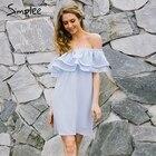 Save 12 on Simplee Chifon ruffle short dress women Off shoulder sleeveless beach summer dress 2017 Lining elastic band sexy dress vestidos