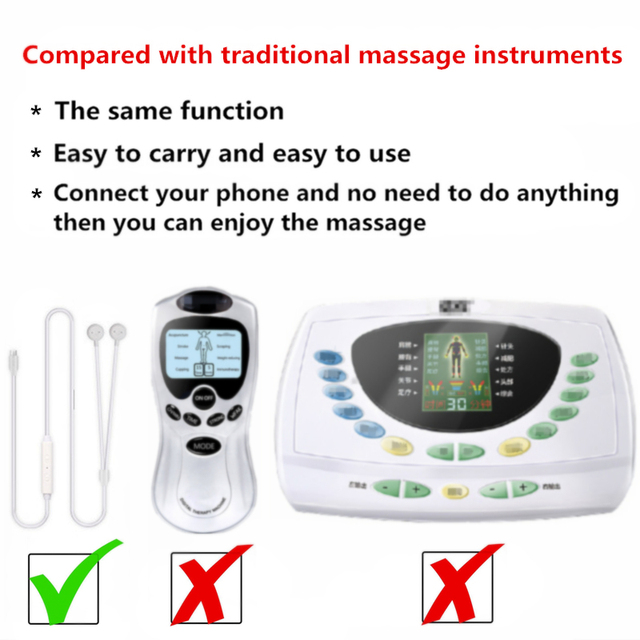 New Portable Muscle Stimulator Body Massager Phone connection Acupuncture Back Neck Tens Therapy Electric Massage Pad relaxation 3