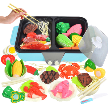 New 37Pcs/arrival 2-in-1 Pretend Play Toy Kitchen Hot Pot Barbecue Playset Boys Girls Birthday Christmas Gift - Blue/Pink