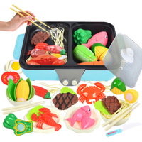 New 37Pcs/arrival 2 in 1 Pretend Play Toy Kitchen Hot Pot Barbecue Playset Boys Girls Birthday Christmas Gift Blue/Pink